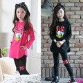 QUEDA OUTFITS Crianças Conjuntos de Roupas Para Meninas Sports Ternos Sporstwear Pato Donald Crianças Fatos de Treino 2 Peças Meninas Roupas de Algodão