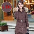 Free shipping Winter plus size clothing outerwear medium-long coffee down cotton-padded jacket thickening wadded jacket 5xl