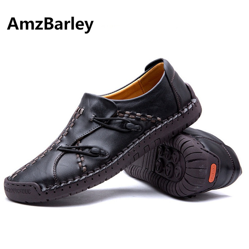 AmzBarley Men Shoes Casual Flats Genuine Leather Sewing Patchwork Slip On Man's Size 38-44 Brown Colors Handmade hot sale mens italian style flat shoes genuine leather handmade men casual flats top quality oxford shoes men leather shoes