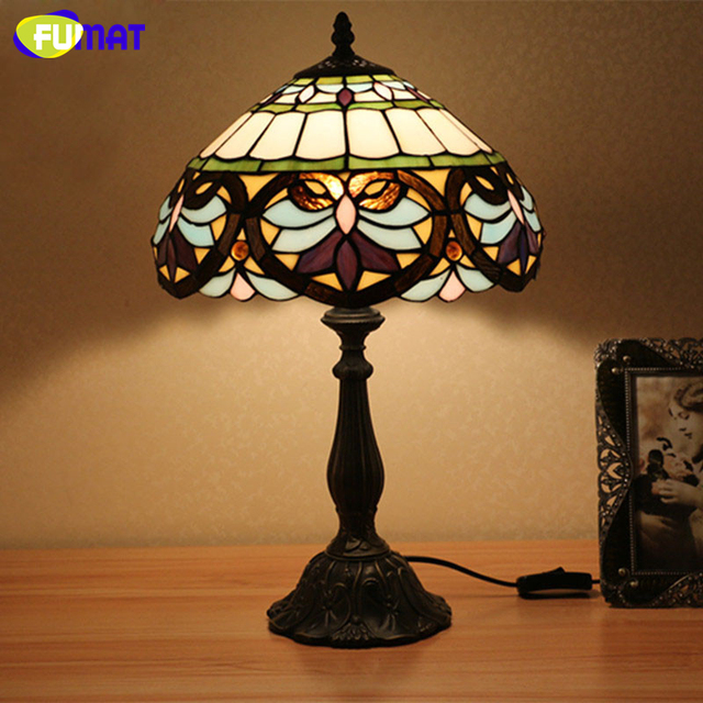 FUMAT Glass Table Lamp Baroque Style Creative Light Vintage Style Stained  Glass Bedroom Desk Reading Light
