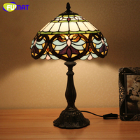 FUMAT Glass Table Lamp Baroque Style Creative Light Vintage Style Stained Glass Bedroom Desk Reading Light Bedside Light