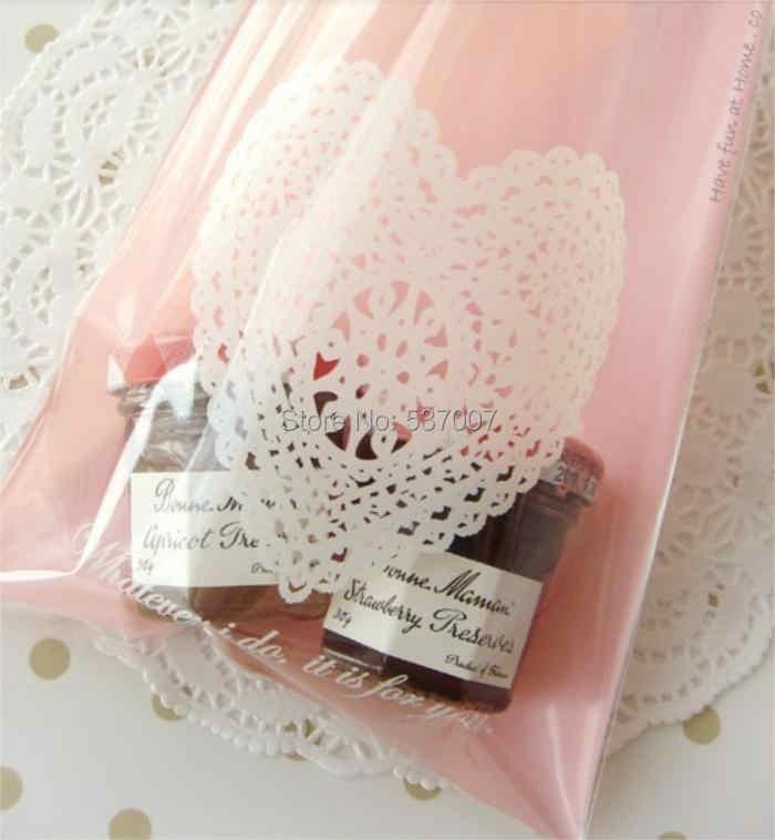 100 pcs 13x19 centímetros Laço Cor de Rosa Bolo de Padaria Saco Plástico Embalagem Do Bolinho para DIY Baking Bolo Biscuit Embalagem lanche Sacos