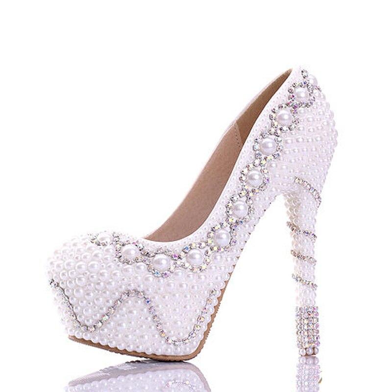 Il trasporto Libero 2018 Bianco Perla Splendida Festa di Nozze Scarpe Colorate Scarpe Abito Da Sposa di Buona Qualità Delle Donne Dell'alto Tallone Prom Pompe - 2