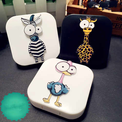 LIUSVENTINA DIY Acrylic Cute Animals Ostrich Giraffe Zebra Contact Lens Case Box with Mirror Container for Contact Lens Kid Gift