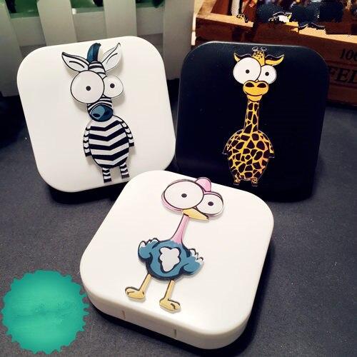 LIUSVENTINA DIY Acrylic Cute Animals Ostrich Giraffe Zebra Contact Lens Case Box with Mirror Container for Contact Lens Kid Gift