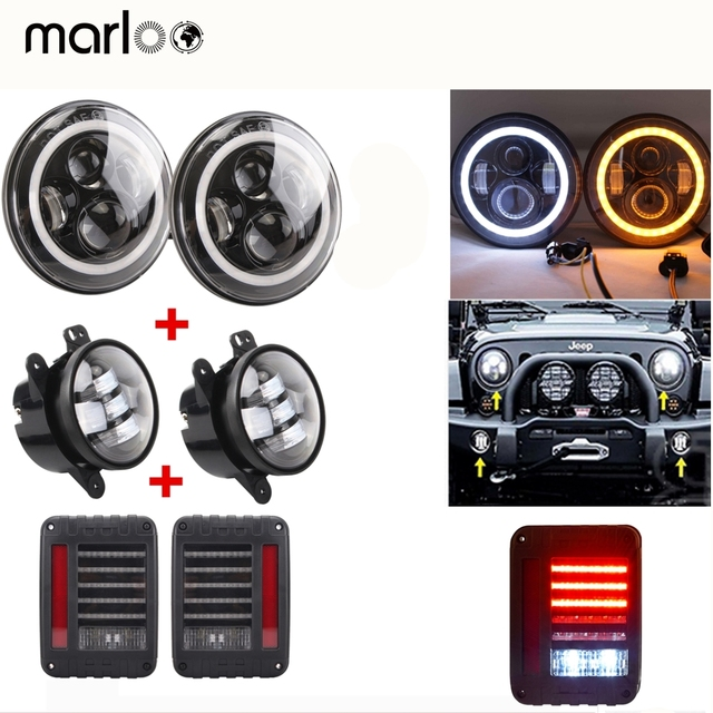 "Marloo Wrangler 7"" Daymker Led Headlight White DRL Amber Signal Light, 4"" Front Bumper Fog light With JK TailLight Set For Jeep"