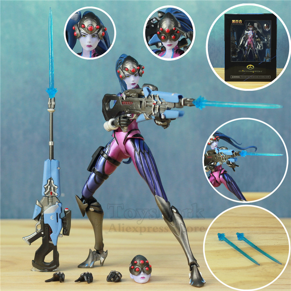 OW Widowmaker Black Lily 7 17cm Action Figure OverWatching Tracer Toys Doll Model Game Figuur OW Widowmaker Black Lily 7 17cm Action Figure OverWatching Tracer Toys Doll Model Game Figuur