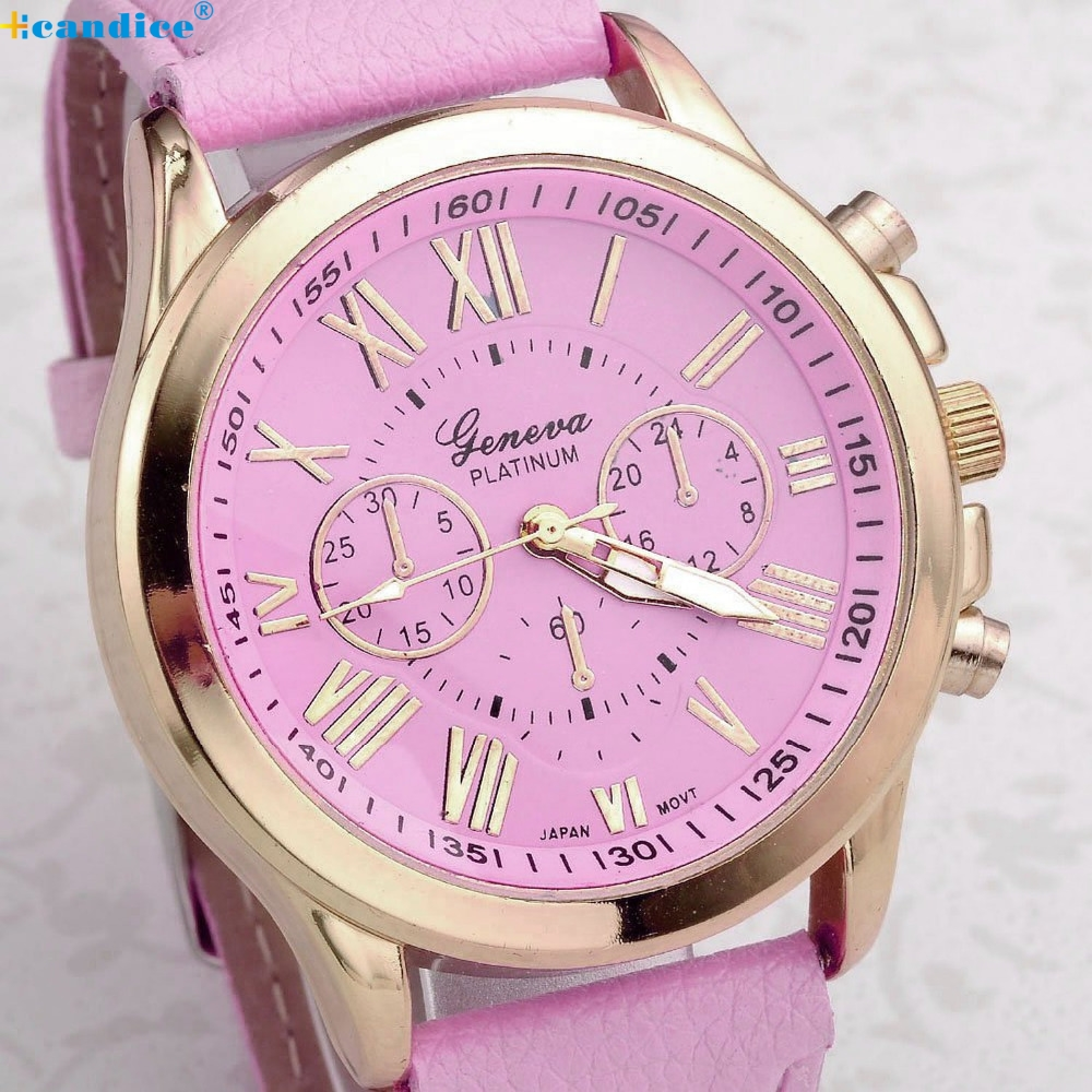 Women's Watches Fashion Geneva Brand Roman Numerals Faux Leather Analog Quartz Wrist Watch Women Female hours clock 3 Colors New