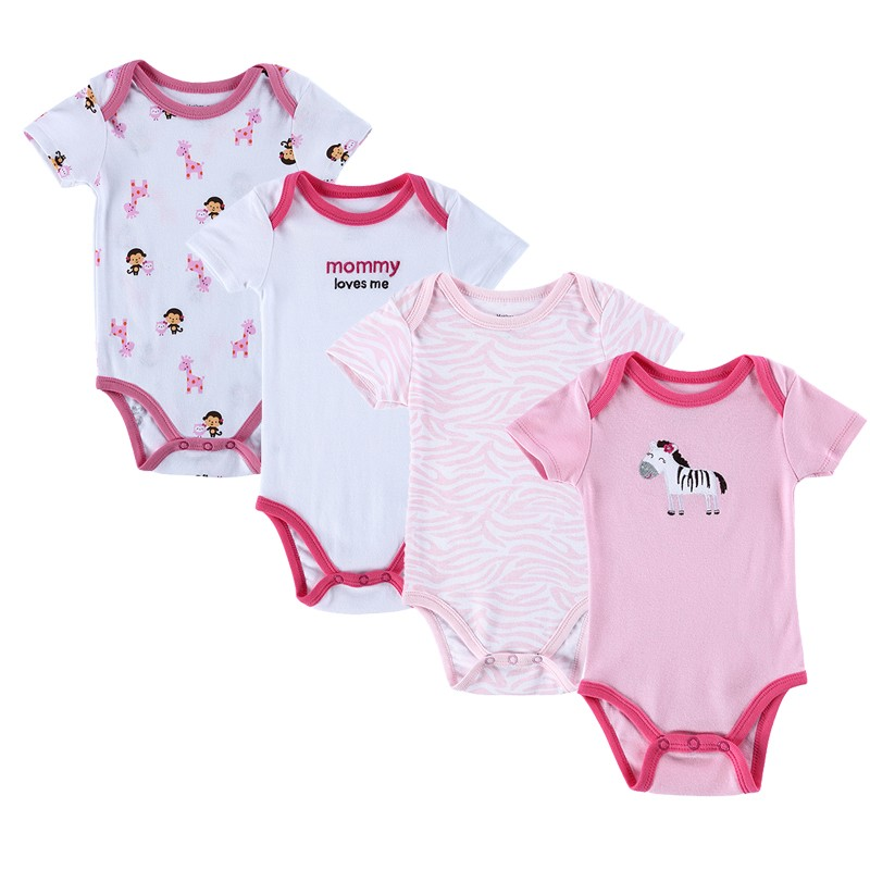 4PCS Baby Brand Boy Girl Bodysuits Short Sleeve Striped Style Newborn Clothes Bodysuits & One-Pieces Baby Clothig Color Blue (3)