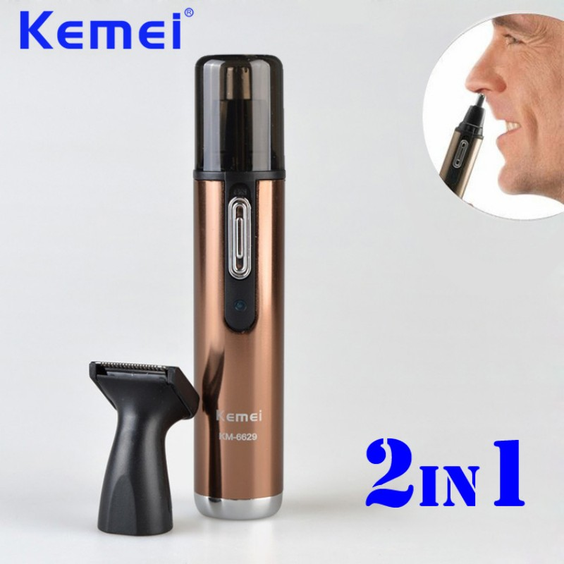 KEMEI 2 in 1 Electric Rechargeable Nose and Ear Hair Trimmer Removal Fashion Safe Face Care Shaving Machine Hair Cutter BT-151 new kemei nose trimmer 3 in 1 rechargeable electric shaver face care shaving trimmer for nose