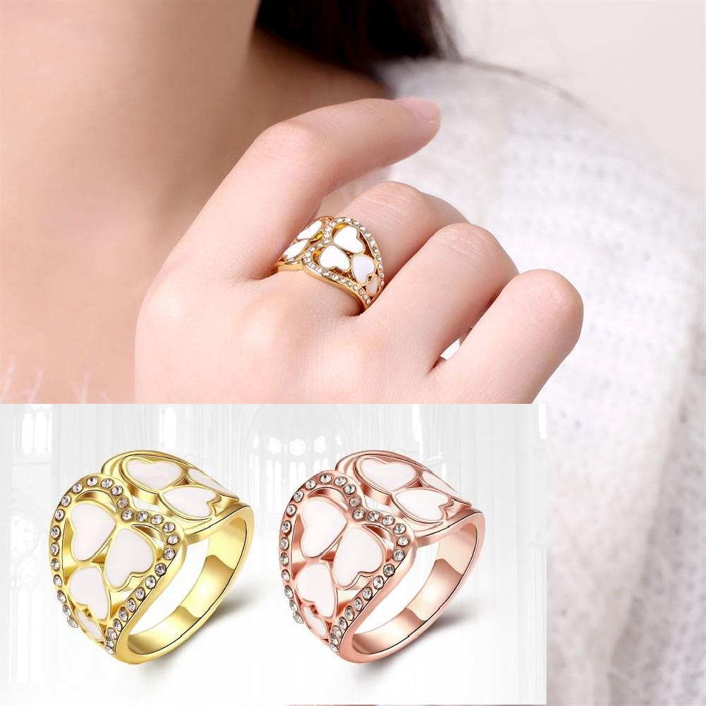 ヾ(^▽^)ノHot Rose Gold Color Ring For Women Heart Hollow Out ...