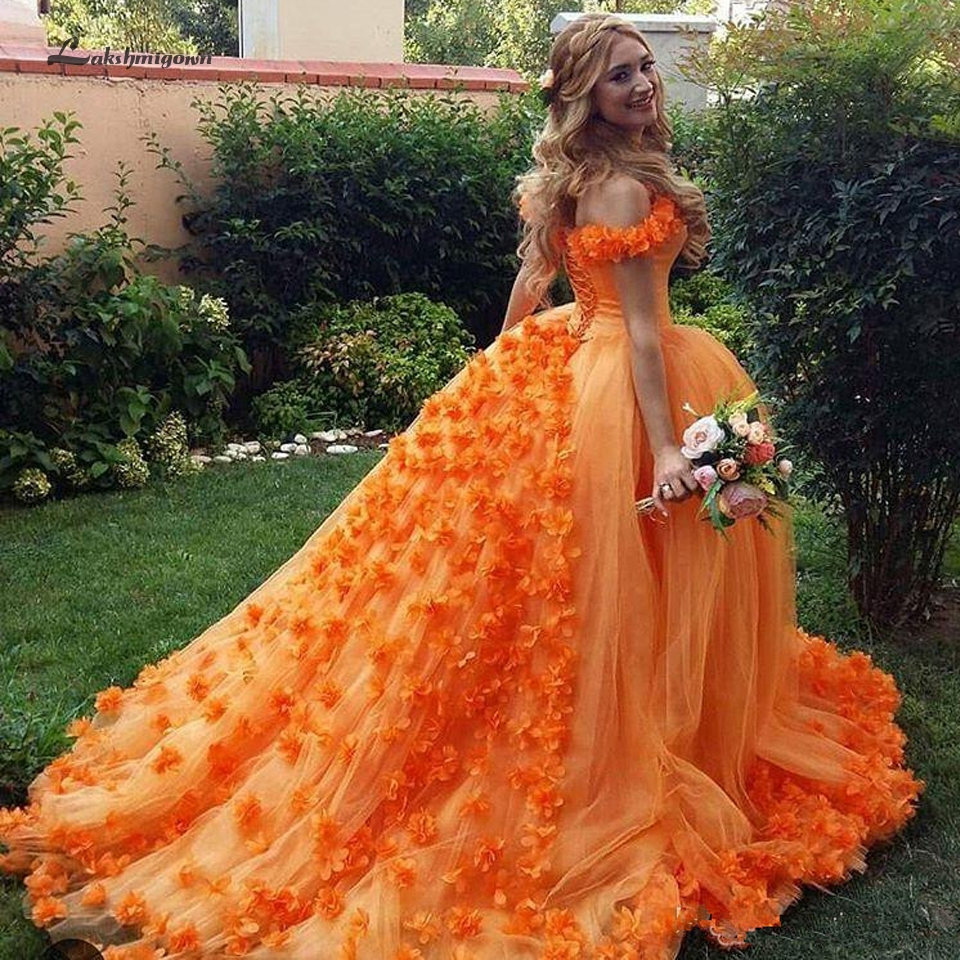 Lakshmigown Floral Orange Quinceanera Dresses Ball Gown 2019 Vestidos de 15 anos Princess Sweet Sixteen Birthday Party Dresses(China)