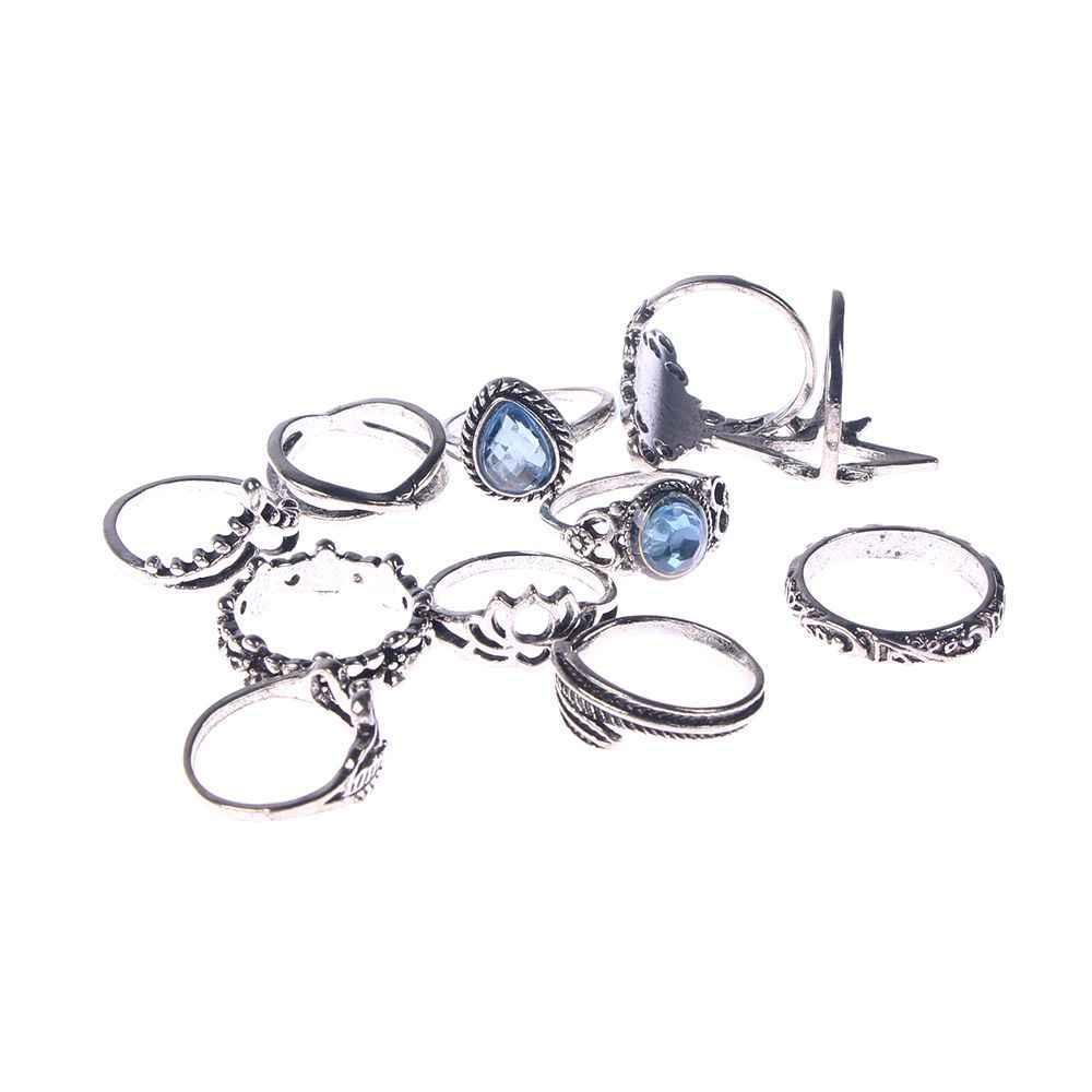 11 יח'\סט בציר כחול קריסטל טבעות סט לנשים כסף לוטוס נוצת Boho Midi Knuckle טבעות הצהרת תכשיטים מתנה