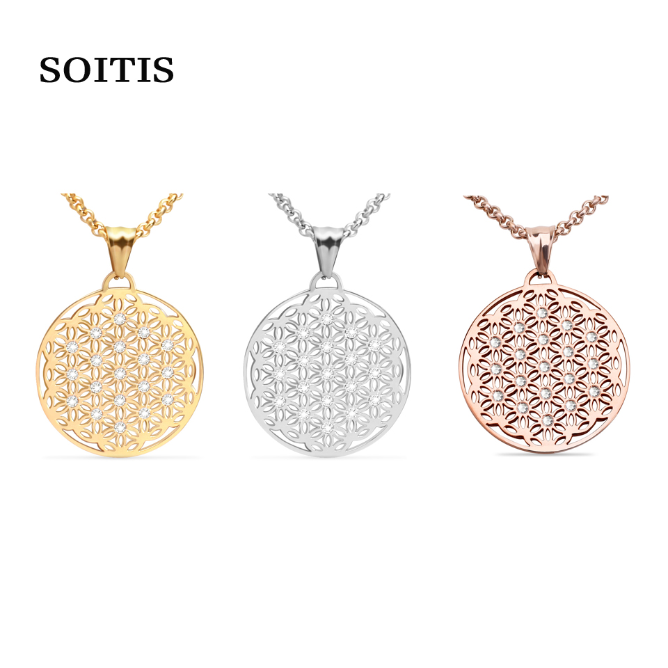 SOITIS Free Shipping Fashion Flower of Life Pendants Necklace 316L Stainless Steel Necklaces 3 Color Women's Chain soitis free mason hip hop stainless steel past master masonic free mason freemasonry pendants mason necklaces gold color