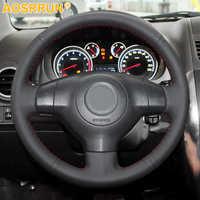 Accesorios de coche de cuero cosido a mano cubierta del volante del coche para Suzuki SX4 Alto viejo Swift Opel Agila