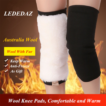 1 Pair Elastic Wool Knee Pads Warm Winter Wen and Women Thickening Protector Gray Black M L XL