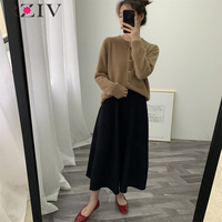 RZIV Spring female skirt casual solid color knitted skirt