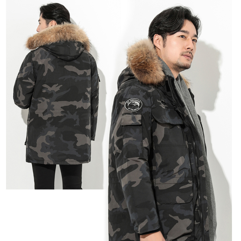 Brand Lovers Leisure Thicken Outerwear Quality White Duck   Down     Coat   Raccoon Fur Collar Leisure Long   Down   Jacket Hooded   Coat