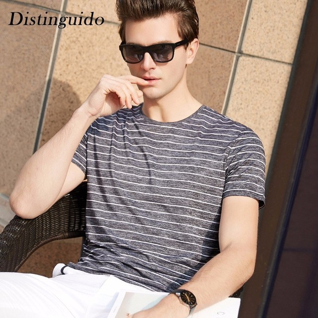 1db997be2f0 Simple Spring Summer O-Neck Collar Striped Solid Color Hot Weather Outwear  Breathable Smart Casual Daily Men s T-Shirts MST223