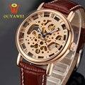 2016 OUYAWEI skeleton ouro relógio para homens Relógios de Pulso Mecânico de couro assista Top Marca Luxurygold reloj hombre