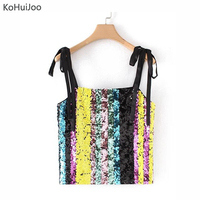 KoHuiJoo 2018 Summer Sexy Sequined Camis Tops Women New Stripe Patchwork Lace Up Party Tank Tops