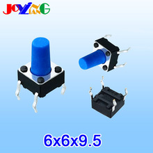 JOYING LIANG Blue 6*6*9.5MM Vertical Four-foot Touch Switch 4-foot Small Electric 6x6x9.5mm Copper Foot 10pcs/lot
