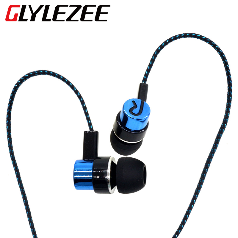 Glylezee In Ear Cloth Line Earphone Headset Earbuds Jack Standard Noise Isolating 1.1M Reflective Fiber 3.5mm Stereo