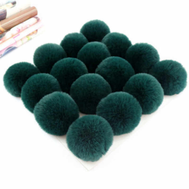 Pencelupan Tiruan Cerpelai Bulu Pom Pom Warna-warni Tiruan Rubah Bulu Pompom Buatan Rambut Bola Pompon untuk Beanie Topi Tas Syal sarung Tangan Sepatu