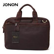 JONON Brand Genuine Leather Vintage Men Bags Business Designer Laptap Bag Handbags High Quality Laptop Shoulder Bags