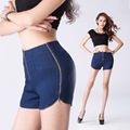 New Sexy Women Hot Jeans Shorts 3 Zipper Open High Waist Denim Jeans Shorts Hot Tight  Micro Mini Shorts Culb Dance Wear FX1032