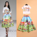 2015 Fashion Runway Looks Bohemian Amorous Feelings Of Figure Paintings Printing Jacket + Scenery Of Ball Gown dress