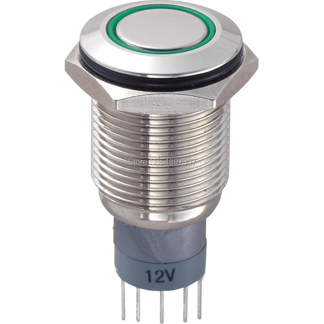 16mm 12V Green LED Lamp 5 Pin 1NO 1NC Momentary Metal Push Button ...