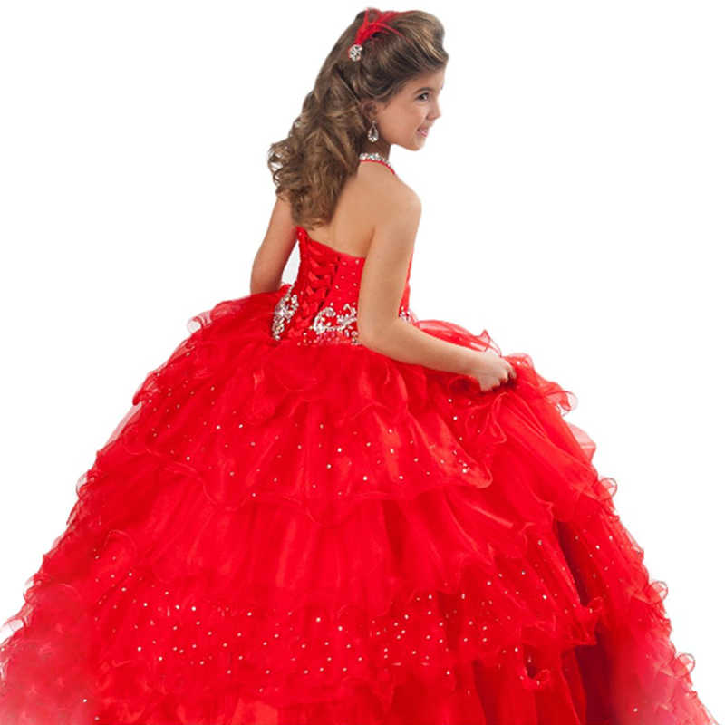 ... red little girls pageant dresses beaded puffy kids prom dresses blue  fancy children party dresses for ... 7a7b6baf4f4c