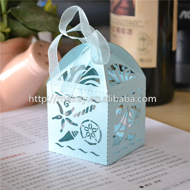 Beautiful Sea Shell Shape Beach Wedding Favor Box Laser Cut