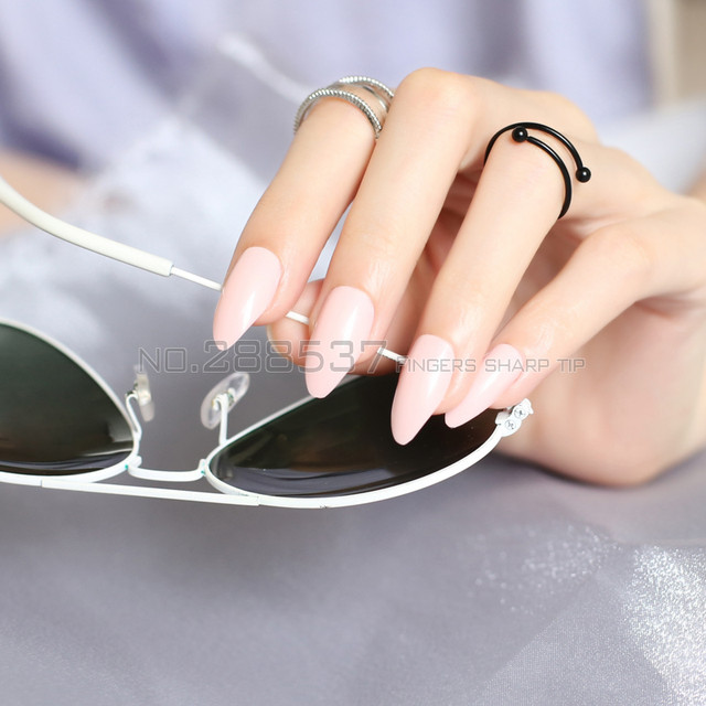 Online Shop New Shrimp Powder Full Cover Fake Short Stiletto Nails