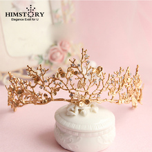 Himstory Baroque Crown Gold Leaf Tiara Dragonfly Bridal Hair Accessories Princess Crowns Headdress Women Ornaments