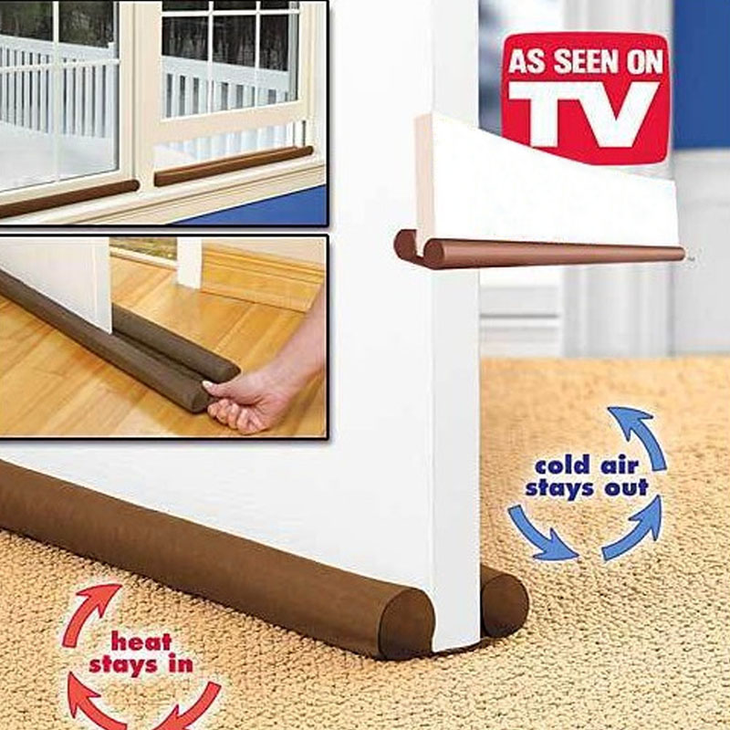Creative 90cm Brown Door Window Grates Twin Draft Guard Dust Resisted Stopper Energy Saving Doorstop Protector Home Improvement