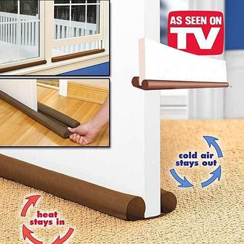 Creative 90cm Brown Door Window Grates Twin Draft Guard Dust Resisted Stopper Energy Saving Doorstop Protector Home Improvement