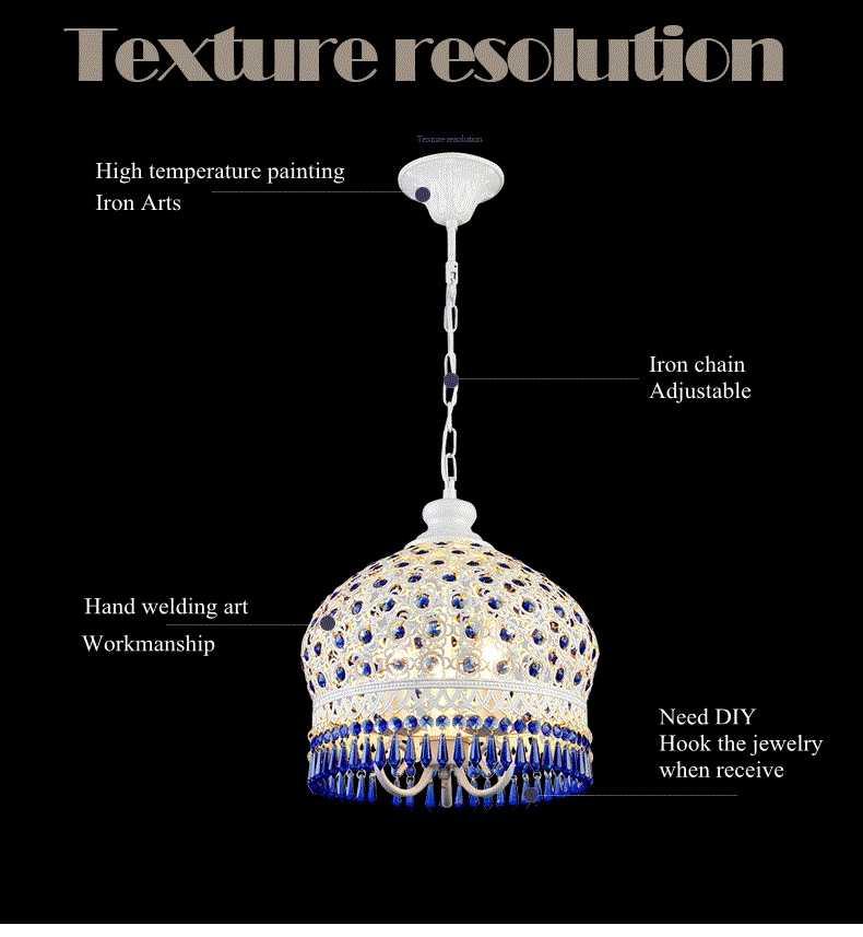 Богемский средиземноморский синий хрустальный Потолочный подвесной светильник, абажур, светильник для комнаты, ресторана, кафе, Декор