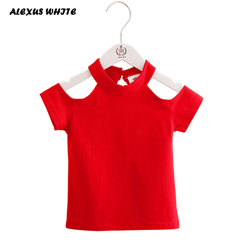 2018 Cotton Summer Girls T Shirt Off Shoulder Red Black O Neck T-Shirts Kids Top Tee Girl Children Clothes Toddler Baby 2-7T new 2017 cotton little girls shirt off the shoulder white t shirt kids top children clothes tolder clothing kids summer blouse