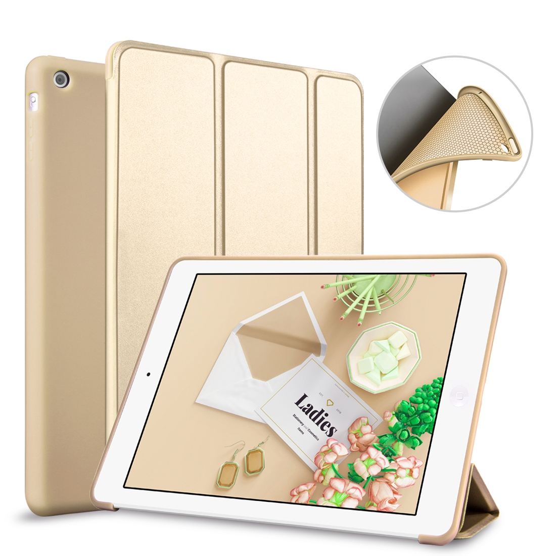 For Apple iPad Air 2/ iPad 6,Silicone Case Smart Cover Soft TPU Case PU Leather Flip Stand Auto Sleep/Wake the tablet high quality thickening tpu silicone cover for ipad air ipad 5 case fashion soft transparent froste cover air1 tablet pc stand