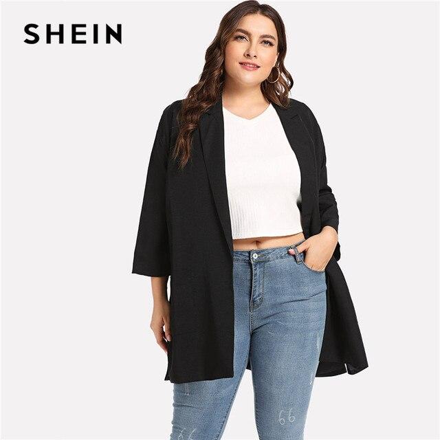 39af306c67 SHEIN Black Office Lady Plus Size Slit Side Notched Collar Long Blazer 2018  Women Autumn Workwear
