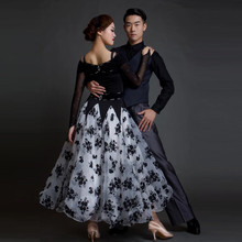 2017 new big swing elegant modern dance costumes female flower splicing waltz/tango/quickstep/ballroom dance for competition