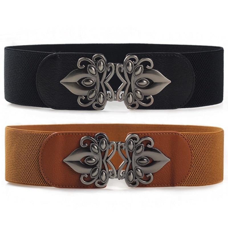 Avec robes mode dames large ceinture élastique ceinture élastique sauvage femmes large ceinture décoration
