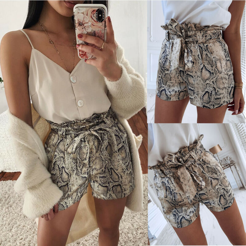 Women Shorts Loose Summer High Waist Snakeskin Casual Beach Hot Casual Shorts