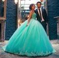2016 Green Ball Gown Tulle Prom Dress With Beads Lace Edge Vestido De Festa Longo Lace Up Back