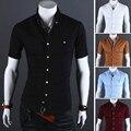 Los nuevos Mens Camisas de Manga Corta de Verano Camisa de Los Hombres de Un Solo Pecho marca de Color Sólido Camisa Delgada Hombres Chemise Homme Para Hombre Vestido camisas