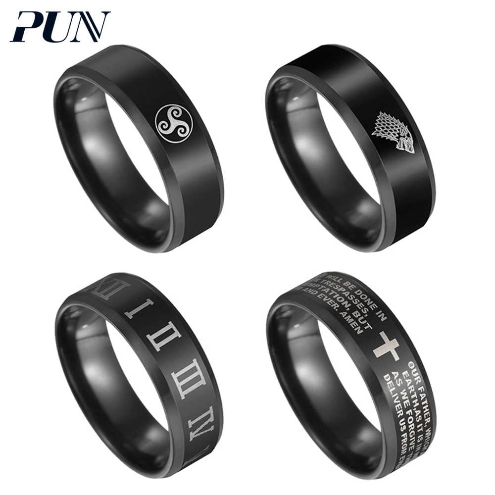 PUN finger ring men PUNK jewelry accessories rings for mens fashion kpop male black stainless steel tungsten wolf  moon element