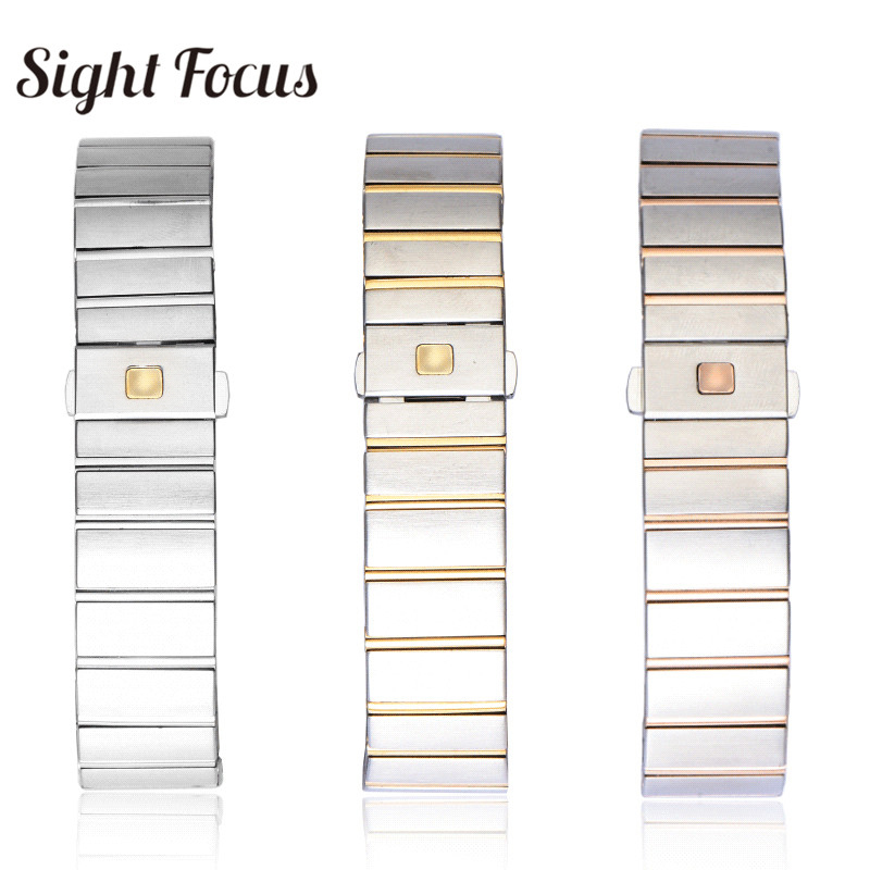 15 17 18 23 25mm Notch End Stainless Steel Replacement Watchband for Omega Constellation Double Eagle