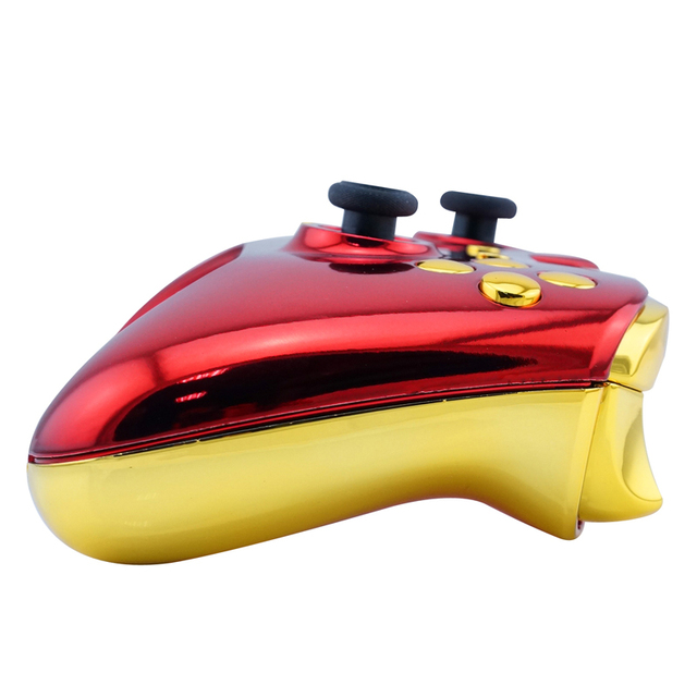 New Arrival Custom Chrome Red Replacement Shell + Gold Buttons Mod Kit for Microsoft Xbox one 1 wireless controller Iron Man